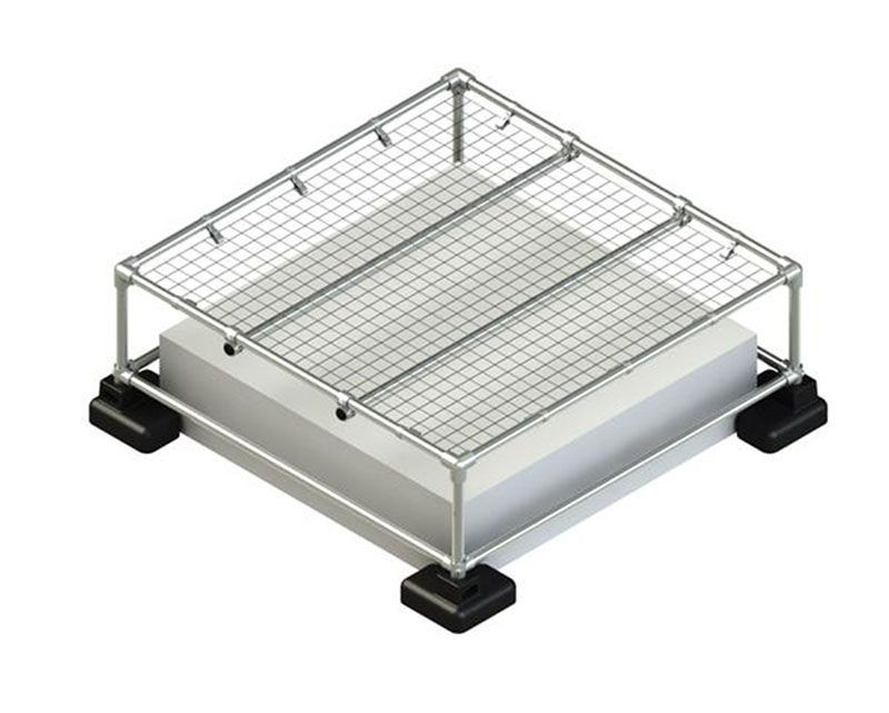 skylight guardrail system with mesh cover
