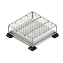 mini skylight guardrail system with mesh