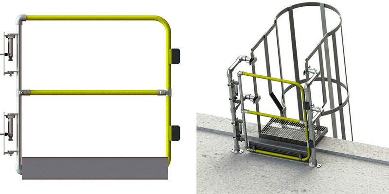 Full height gates for ladders and roofs